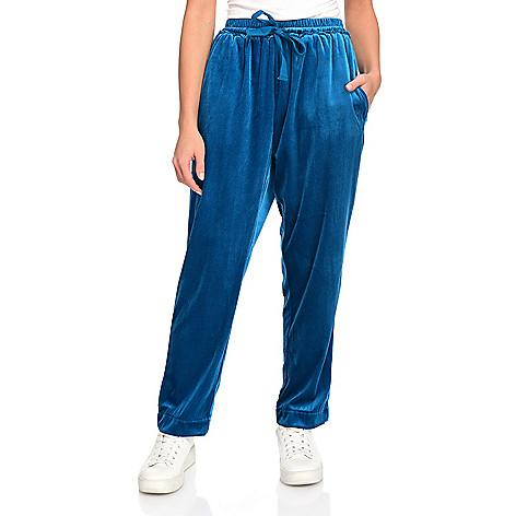 velvet joggers blue